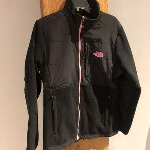 North Face Black & Pink Zip Up Fleece Jacket Coat